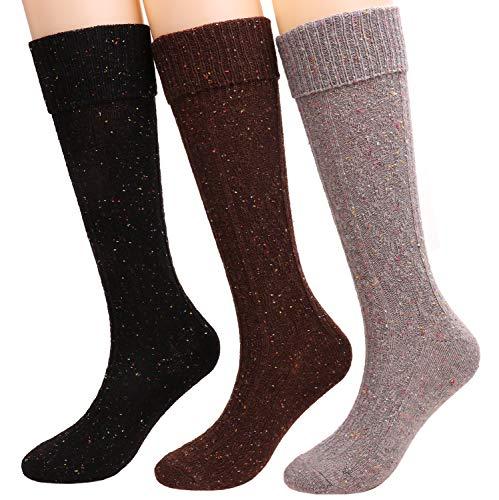 3 Pack Womens Soft Wool Knee High Calf High Dot Turn Cuff Socks Size 5-10 G-17 (dots)