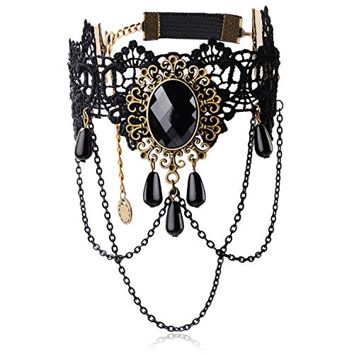 Aniwon Punk Style Wedding Party Black Lace Choker Beads Tassels Chain Pendant Necklace Earring Set for Women (Arm Chain)