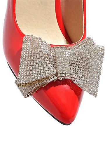 GGX/Damen Schuhe Stiletto Heel Spitz Zulaufender Zehenbereich Schleife Strass Pumpe mehr Farbe erhältlich red-us7.5 / eu38 / uk5.5 / cn38