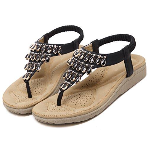 Flip Summer Donna Flat Scarpe Bohemian Sandals Ruiren Women flops Nero Da AHwqZ
