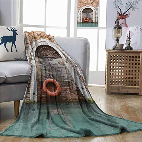 (Throw Blanket Rustic Timber Door with Lifebuoy in Venice Italian Mediterranean Culture Tourist Place Print Large Throw Blanket W60 xL91 Red Brown)