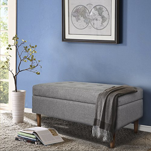 Barton Ottoman Fabric Rectangular Storage Bed Bench, Upholstered Button Tufted Lift Top, Dark Grey by Barton