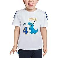 AMZTM 4 Años Dinosaurio Camiseta Cumpleaños - Niños Manga Corta Top
