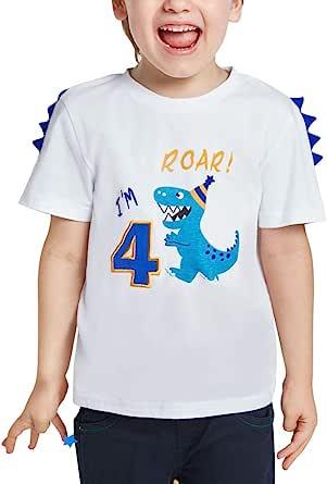 4 Años Dinosaurio Camiseta Cumpleaños - Niños Manga Corta Top