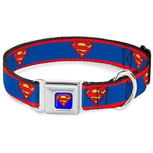 Buckle-Down Seatbelt Buckle Dog Collar - Superman Shield/Stripe Red/Blue - 1