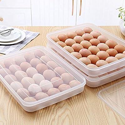 Cubiertos soporte para huevos para nevera, 30 huevos, transparente ...