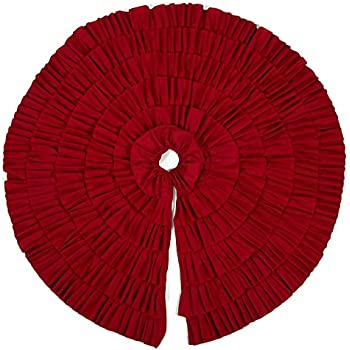 Christmas Tree Skirt - Circular Xmas Tree Decoration Fabric Christmas Tree Décor (48 Inches, Red Ruffled Trim)