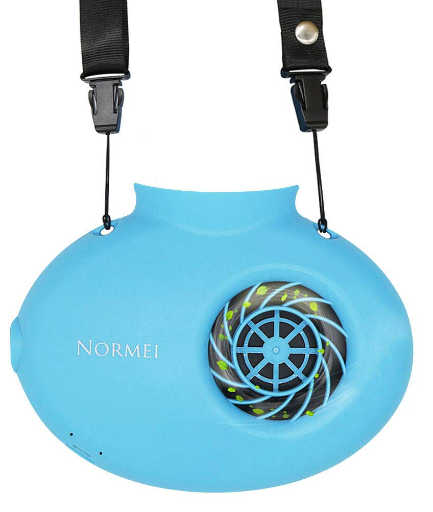 Normei Necklace Fan Battery Operated Mini Portable USB Rechargeable Fan Adjustable String Powered 18650 Battery Personal Cooling Kids Walking Travel Outdoor (2018 New Version,Blue)