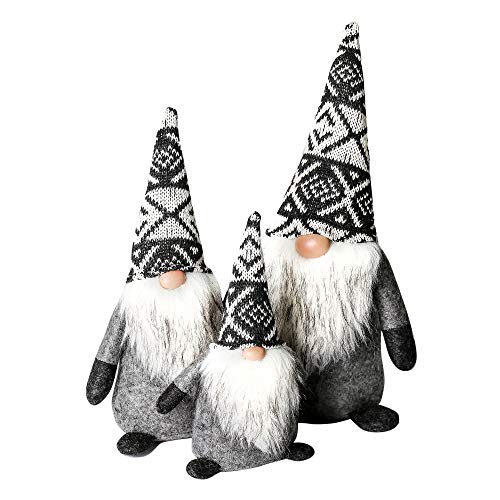 ITOMTE Handmade Swedish Gnome, Scandinavian Tomte, Yule Santa Nisse, Nordic Figurine, Plush Elf Toy, Winter Table Ornament, Home & Christmas Decorations, Holiday Presents - a Family Pack of 3, Classic