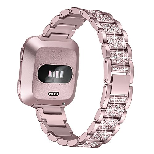 bayite Bling Bands Compatible with Fitbit Versa Band for Women, Metal Bracelet Replacement Wristband Smartwatch Accessories, Rose Gold (Mesh Rhinestone Gloves Black)