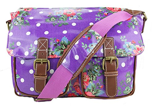 Flowers Rubber Shoulder Flowers Hand Oilcloth Purple Miss Dots Purple Bag Polka School Or Bag Lulu Body Canvas Cross Yw6q5TZ