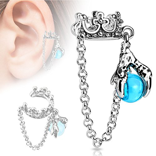 Crown With Chain and Dragon Ball Fake Non Piercing Dangle (Crown Cuff)
