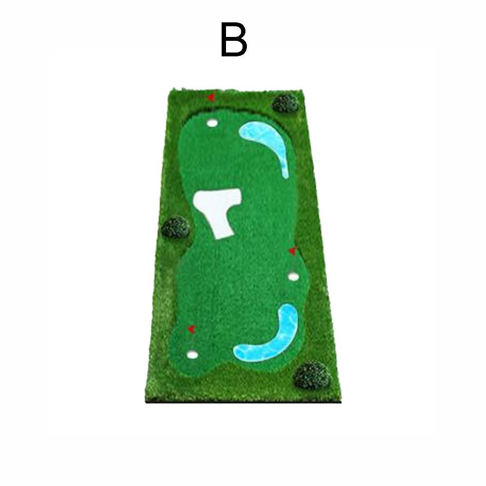 滑り止めゴルフ人工グリーンゴルフパッティンググリーンシステムミニボール練習模擬バンカー、リップルパドル、ステンレススチールカップ (色 : B, サイズ : 1.5*3m) B 1.5*3m