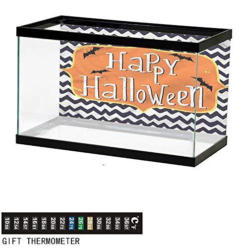bybyhome Fish Tank Backdrop Halloween,Doodle Style Chevron Bats,Aquarium