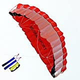 Besra Huge 102inch Dual Line Parachute Stunt Kite with Flying Tools 2.6m Power Parafoil Kites Outdoor Fun Sports for Beach & Park (102inch Red)