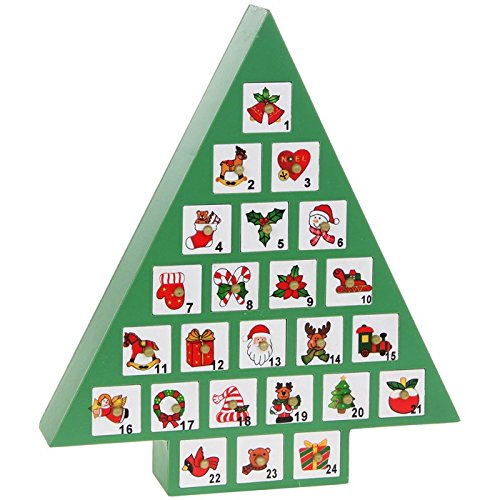 FABULOUS QUALITY WOODEN GREEN CHRISTMAS TREE ADVENT CALENDAR XMAS NEW & BOXED ToyCentre