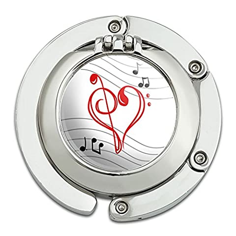 Treble Bass Clef Heart Music Red Foldable Table Bag Purse Caddy Handbag Hanger Holder Hook with Folding Compact - Clef Hanger