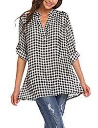 Meaneor Women's Casual Long Sleeve Tunic V-Neck Buffalo Plaid Shirts Pullover Top