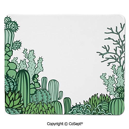 Non-Slip Rubber Base Mousepad,Arizona Desert Themed Doodle Cactus