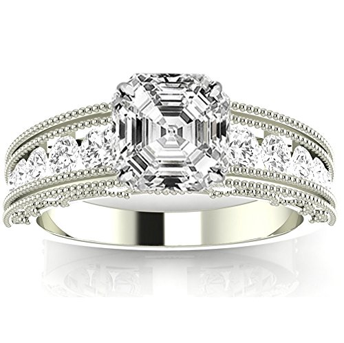 1.35 Ctw 14K White Gold GIA Certified Asscher Cut Antique / Vintage Style Channel Set Round Diamond Engagement Ring with Milgrain, 0.75 Ct G-H SI1-SI2 Center