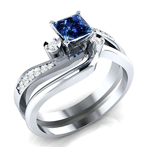 RSJ Global 14k White Gold Plated 0.75CT Princess Cut Created Blue Sapphire & Created Simulated Diamonds Engagement Wedding Bridal Set Ring Sizable Alloy (Sapphire White Set)