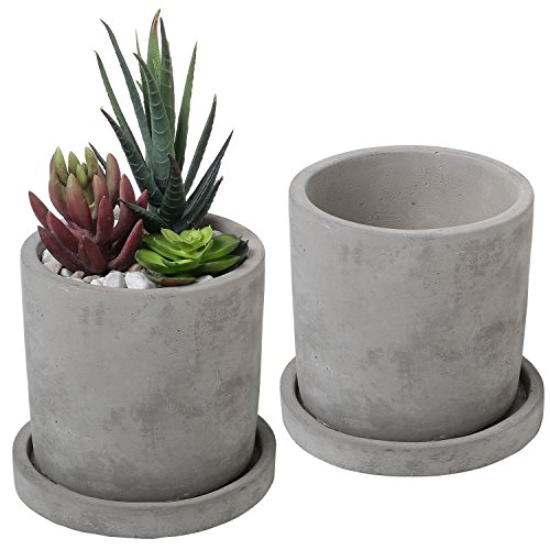 Set of 2 Modern 4-Inch Gray Unglazed Cement Succulent Planter Pots with Removable -