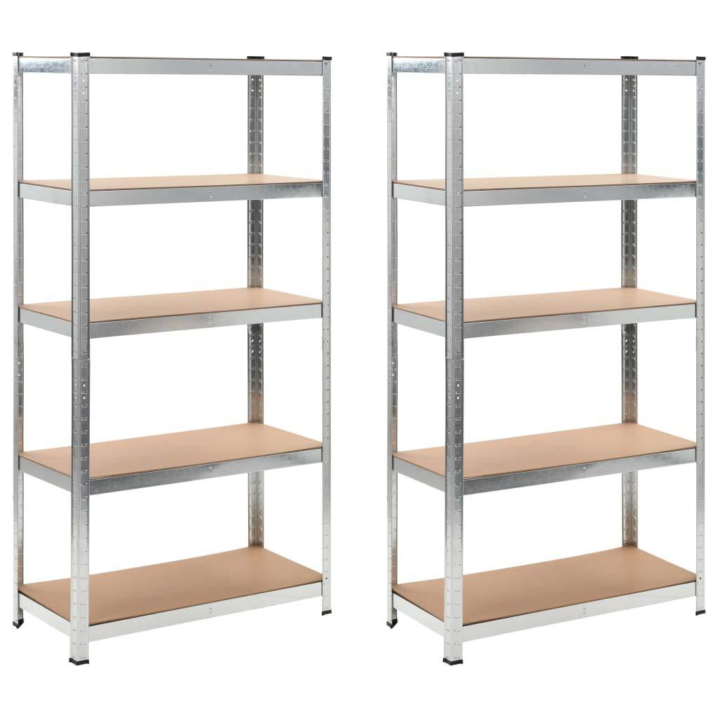Business & Industrial Industrial Storage Industrial Shelving Storage Shelf Silver 2 pcs