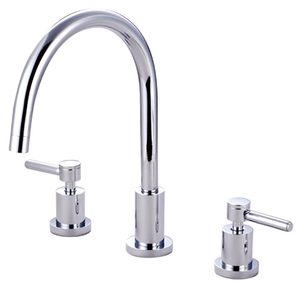 "Elements of Design ES8721DLLS South Beach 2-Handle Widespread Kitchen Faucet without Sprayer, 7- 7/8"", Polished Chrome"