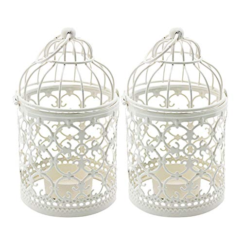 Ciaoed Small Metal Tealight Hanging Birdcage Lantern, Vintage Decorative Centerpieces of Wedding & Party Pack of 2(White) by Ciaoed