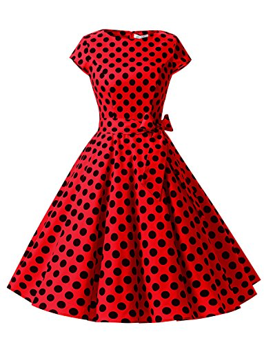 (Dressystar DS1956 Women Vintage 1950s Retro Rockabilly Prom Dresses Cap-Sleeve XS Red Black Dot B)