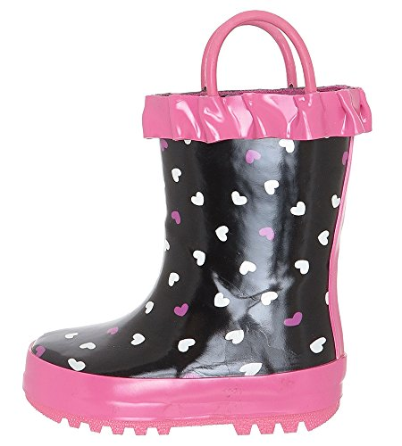 Capelli New York Toddler Girls Scattered Hearts Rain Boot Black Combo 8/9 - Scattered Hearts