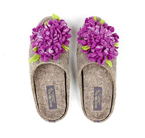 Rubber Slip Sole Support Non Chrysanthemum Slippers Wool Handmade with Made Insole Grey Women's You For Arch Flower and 7W4ZWqPH