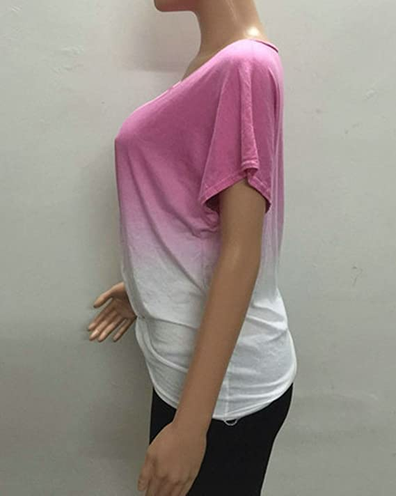 6a1ef2909f88ba Damen Shirt Kurzarm für Schulterfrei Große Manschetten Lose Oversize Weite  T Shirts Pink XL  Amazon.de  Bekleidung