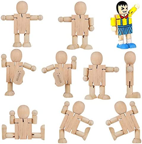 GORGECRAFT 10pcs Unfinished Wooden Doll Robot Wood People 4x4inch Blank Bodies Joint Figures Rotatable Colorable for Art Creative DIY Craft Paint Carving