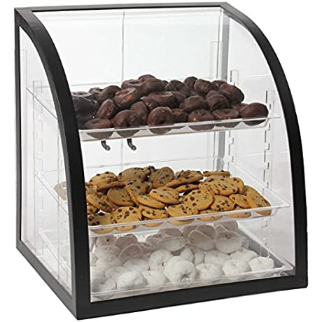 Clear Acrylic Food Display Case With Black Metal Frame 18 X 17 3 4 X 16 1 4 Inch Rear Loading Doors And 3 Removable Trays