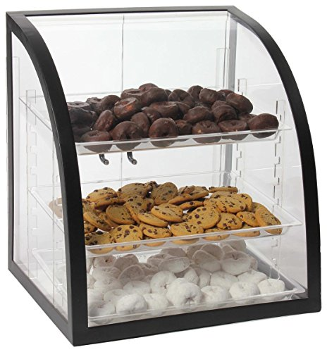 Clear Acrylic Food Display Case With Black Metal Frame, 18 x 17-3/4 x 16-1/4-Inch, Rear-loading Doors And 3 Removable Trays by Displays2go
