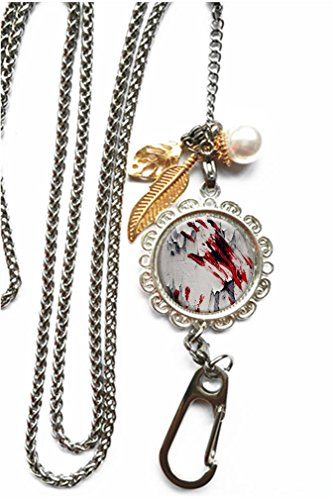 (RhyNSky Bloody Zombie Hand Print Chain Lanyard Necklace Bracelet Keychain Eyeglass Holder for ID Card Name Tag Badge Holder with Clasp, C260)