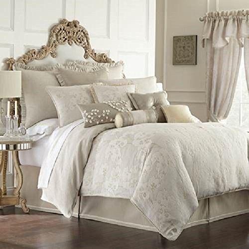 Waterford Genevieve Sand Ivory Creme KING Duvet (Genevieve Duvet Cover)