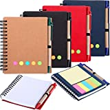 Gejoy 4 Pieces Spiral Notebook Dot Grid Notepad with Pen in Holder, Sticky Notes and Page Marker Colored Index Tabs Flags, 4 Colors Cover