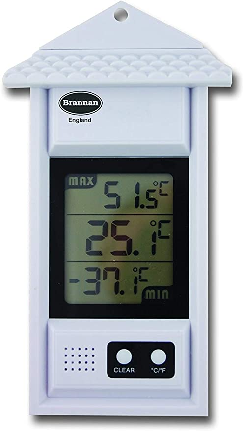 Ideal for Greenhouse or Conservatories White Max Min Digital Thermometer