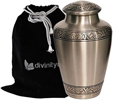 Athens Pewter Brass Cremation Urn for Human Ashes by Divinityurns - Adult Funeral Urn Handcrafted - Affordable Urn for Ashes - Large Urn Deal