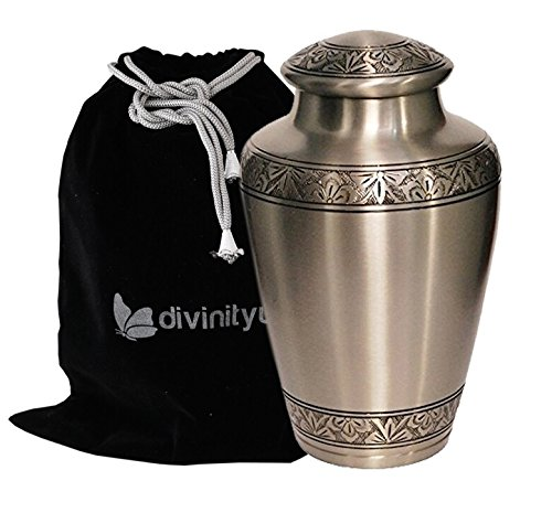 Athens Pewter Brass Cremation Urn for Human Ashes by Divinityurns - Adult Funeral Urn Handcrafted - Affordable Urn for Ashes - Large Urn ()