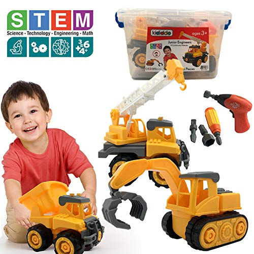 (Educational STEM Toys for Boys & Girls, Toddlers Tractor Toy, Take a Part 3 Construction Vehicle Set, Dump Truck, Crane, Tractor, Excavator, Power Drill, Tools, Best Gifts Idea Kids 2-5 years old)