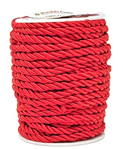 Shiny Viscose Cording for Home D/écor Upholstery Honor Cord 5mm, Red Curtain Tieback Mandala Crafts Rayon Twisted Cord Trim