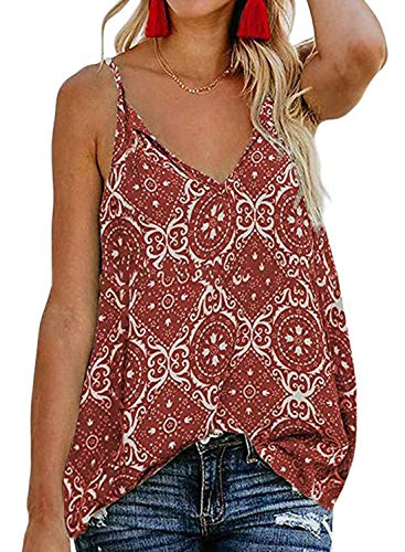 Ecrocoo Women's Casual V Neck Spaghetti-Strap Holiday Cami Tank Tops Summer Sleeveless Shirts Blouses Red L ()