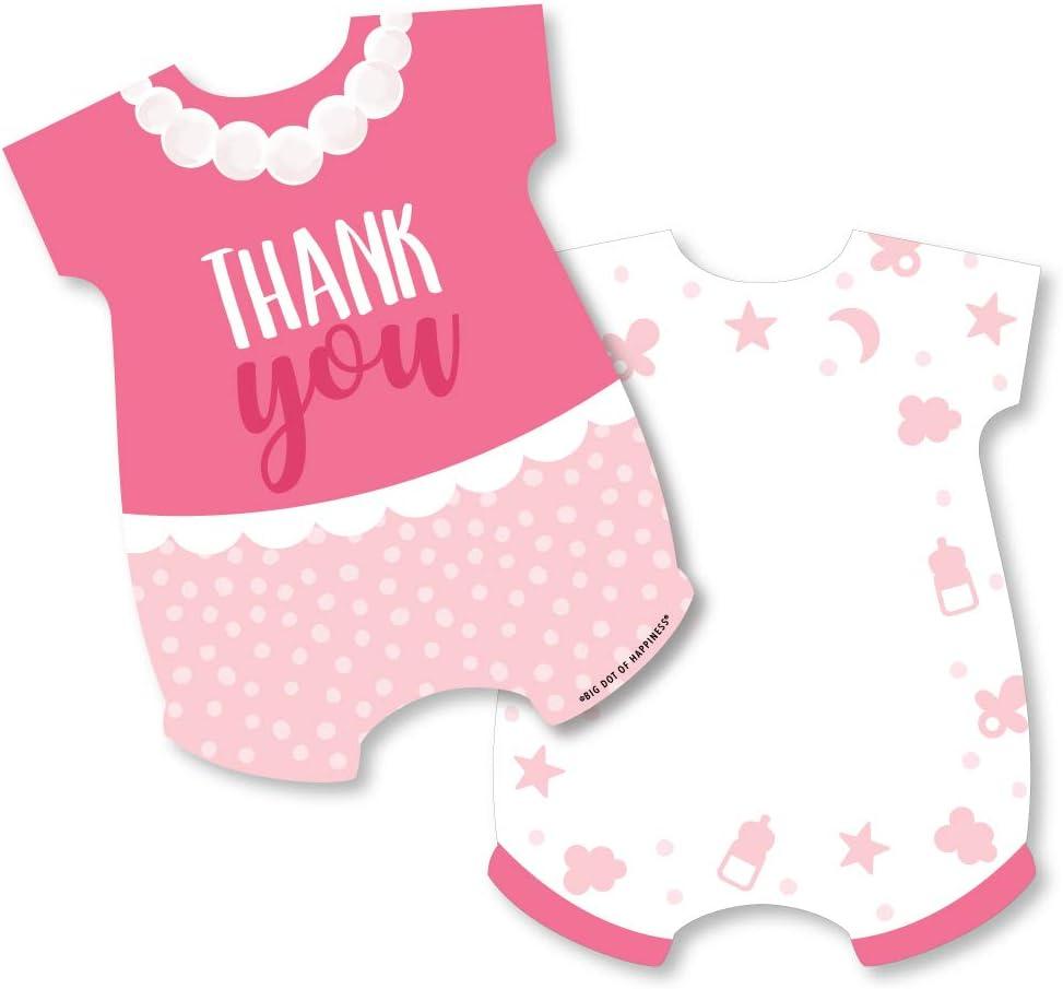 그것은 소녀 - 모양의 감사 카드 - 핑크 베이비 샤워 봉투와 함께 노트 카드 감사합니다 - 12 세트
