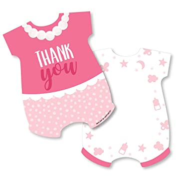 12 with Envelopes style 1 Personalised Girl Glossy Thank You baby Shower Card