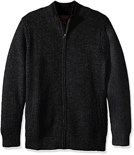land Full-zip Cardingan Sweater, Black Heather-60702, XL ()