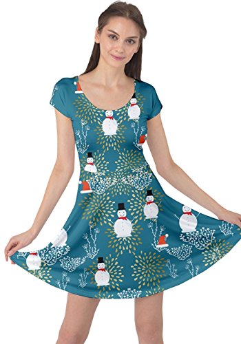XS Dress Sleeve Santa Snowman Tree Christmas Womens Snowman Short Xmas Mint Deer Winter Dark Vintage CowCow 5XL 4vW7RFv