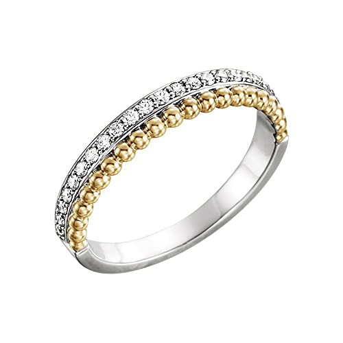 JewelryWeb Anillo de Oro Blanco de 14 Quilates y Oro Amarillo Pulido 0,25 DWT